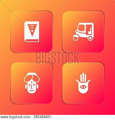 Set India Constitution Day, Taxi Tuk Tuk, Indian Man And Hamsa Hand Icon. Vector