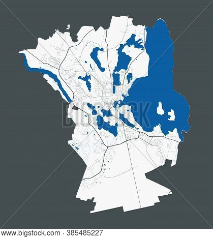 Schwerin Map. Detailed Map Of Schwerin City Administrative Area. Cityscape Panorama. Royalty Free Ve