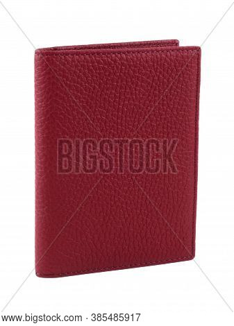 New Red Wallet Of Genuine Cattle Leather. Without Shadows. Isolated On White Background. Close-up Sh