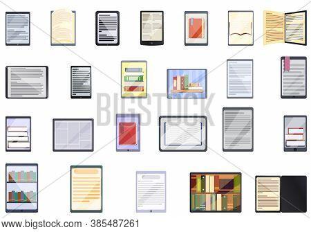 E-book Application Icons Set. Cartoon Set Of E-book Application Vector Icons For Web Design