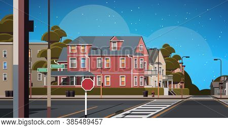 City Facade Buildings Empty No People Urban Street Real Estate Night Town Exterior Horizontal Vector