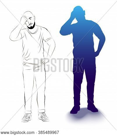 Silhouette And Sketch Of The Figure Of A Thinking Man. Isolated Image Of A Man. Man Standing With Ra