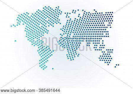 Map Icon Of World. Vector Logo Illustration. Blue Halftone Dots Background. Round Pixels. Modern Dig