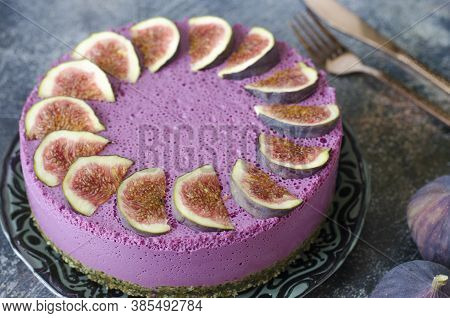 Lilac Cheesecake On Agar With Figs And Nuts