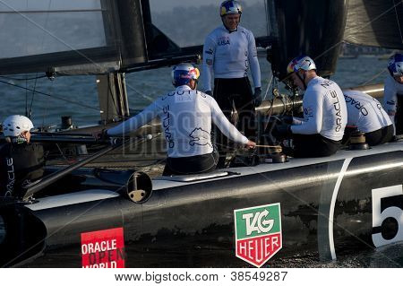 SAN FRANCISCO, CA - OCTOBER 4: Oracle Team USA skippered by Russell Coutts prepares for the America'??s Cup World Series sailing races in San Francisco, CA on October 4, 2012