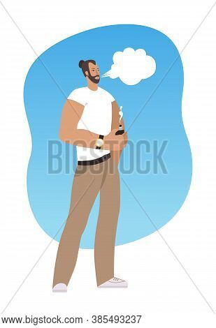 Caucasian Man Vaping In The Street. Man With Beard Vaping Outdoor. Vector Illustration On White Back
