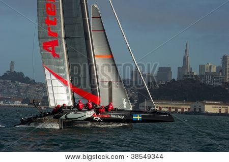 SAN FRANCISCO, CA - OCTOBER 4: Sweden'??s Artemis Racing Red sailboat skippered by Nathan Outteridge competes in the America's Cup World Series sailing races in San Francisco, CA on October 4, 2012