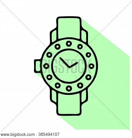 Watches With Diamonds Illustration. Wristwatch Flat Line Icon, Clock Store Or Repair Service Logo. E