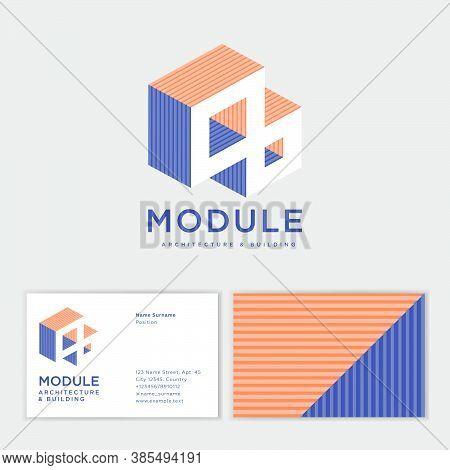 Module Logo. 3d Illusion. Architecture And Building Bureau Logo. Business Card.