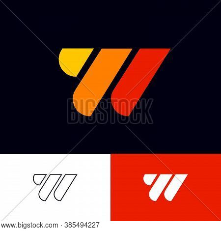 W Logo. W Letter. Multi Color Geometric Elements As W Monogram On Different Backgrounds. Seventies R