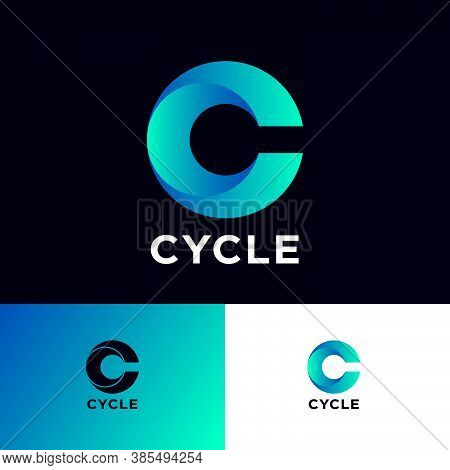 C Letter Monogram. Cycle Logo. Blue Logo With Vortex Dynamic Element On A Different Backgrounds. Web