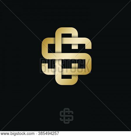 S And C Letters. S, C Monogram Consist Of Intertwined Gold Lines, Isolated On A Dark Background. Gol