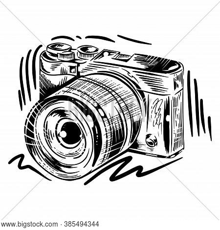 Camera Hand Drawn Vector Illustration. Ink Graphic Line Art. Outline Sketch For Markets, Shops. Clip