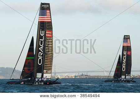 SAN FRANCISCO, CA - OCTOBER 4: Oracle Team USA boats skippered by James Spithill and Russell Coutts compete in the America's Cup World Series sailing races in San Francisco, CA on October 4, 2012