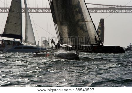 SAN FRANCISCO, CA - OCTOBER 4: France'??s Energy Team sailboat competes in the America'??s Cup World Series sailing races in San Francisco, CA on October 4, 2012