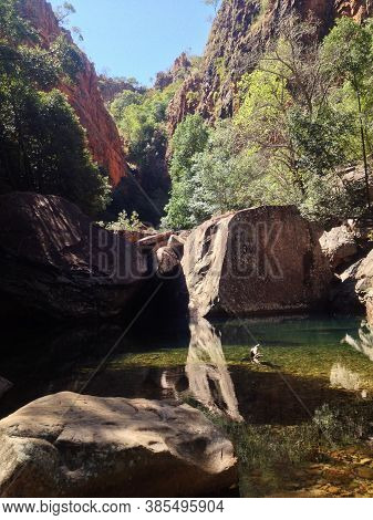 View Of The Rocky Trail Up The River To Emma Gorge Waterfall, West Australia
