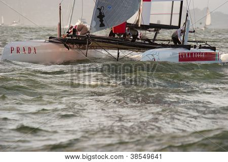 SAN FRANCISCO, CA - OCTOBER 4: Italy'??s Team Luna Rossa Swordfish skippered by Paul Campbell-James competes in the America'??s Cup World Series sailing races in San Francisco, CA on October 4, 2012