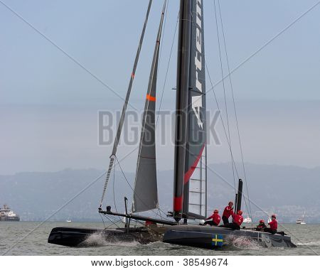SAN FRANCISCO, CA - OCTOBER 4: Sweden'??s Artemis Racing White sailboat skippered by Terry Hutchinson competes in the America'??s Cup World Series sailing races in San Francisco, CA on October 4, 2012
