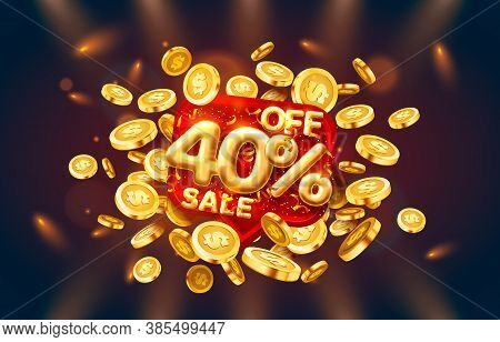 Sale 40 Off Ballon Number On The Red Background.