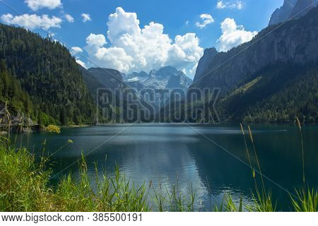 View Of Majestic Mountains And Lake.nature Getaway. Turquoise Water Of Gosau See,lake,austria,dachst