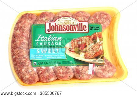 Lake Forest, California / USA - September 15, 2020:  Jacksonville Sweet Italian Sausage raw in its package. Isolated on white. Sausages are enjoyed world wide. Editorial use.