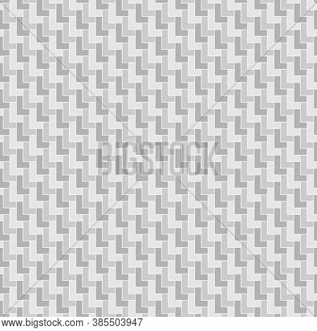 Seamless Surface Pattern Design With Polygons. L Shape Grey Blocks Wallpaper. Repeated Mosaic Figure