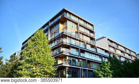 Architectural Details Of Modern Apartment Building. Modern European Residential Apartment Building C