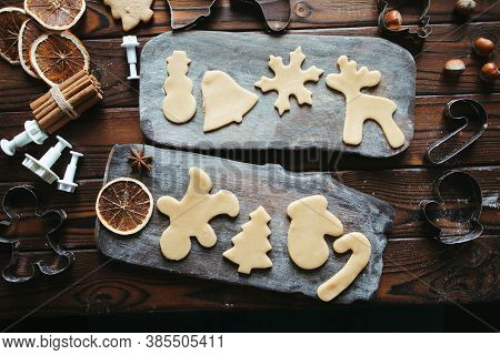 Christmas And New Year Celebration Traditions. Family Home Bakery, Cooking Traditional Festive Sweet