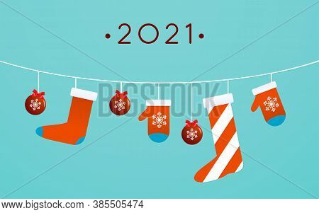 Happy New Year Poster Template In Flat Design Christmas Toys, Stocking, And Mittens Are Hanging On L