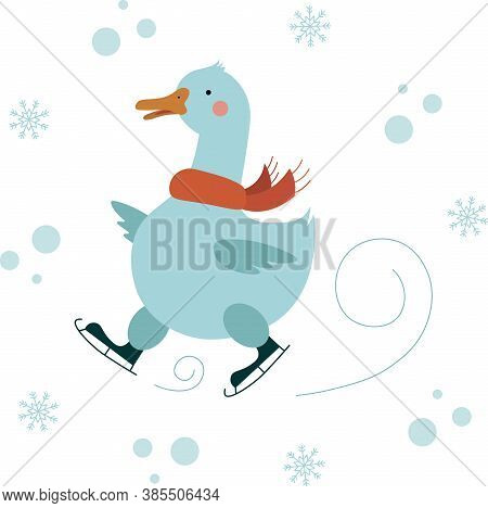 Vector Illustration Of A Cute Goose In A Red Scarf Skating In The Snowfall.