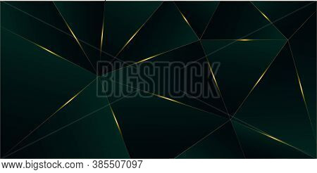Emerald Luxury Gold Background. Golden Silver Polygon Border 3d Abstract Polygonal Sparkle Cover. Ch