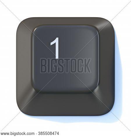 Black Computer Keyboard Key Number 1 3d Render Illustration Isolated On White Background