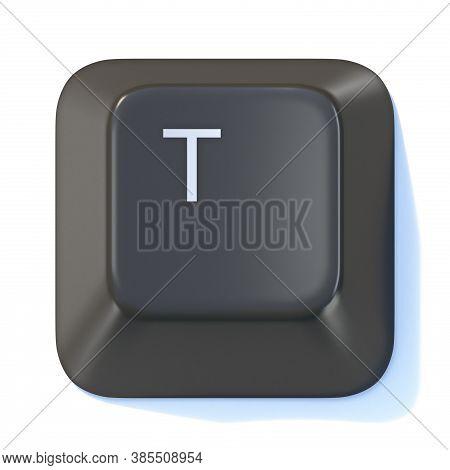 Black Computer Keyboard Key Letter T 3d Render Illustration Isolated On White Background