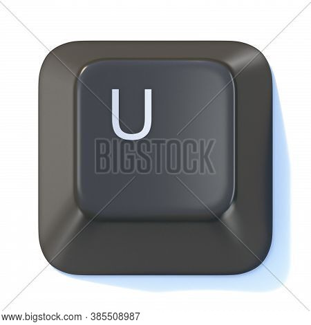 Black Computer Keyboard Key Letter U 3d Render Illustration Isolated On White Background