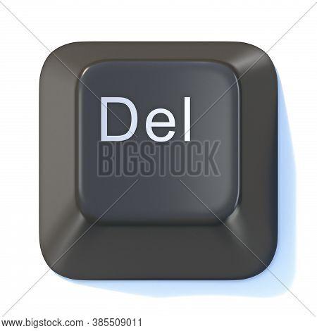 Black Computer Keyboard Delete Key 3d Render Illustration Isolated On White Background