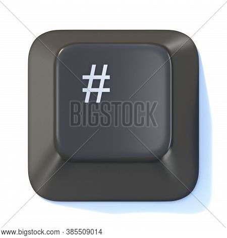 Black Computer Keyboard Hashtag Key 3d Render Illustration Isolated On White Background