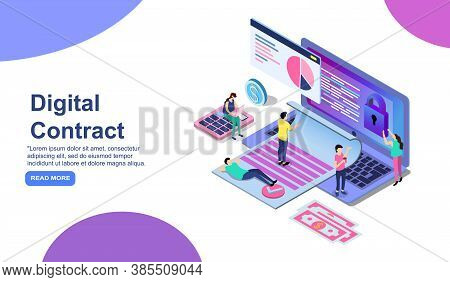 Smart Digital Contract Concept With Characters. Can Use For Web Banner, Infographics, Hero Images. F
