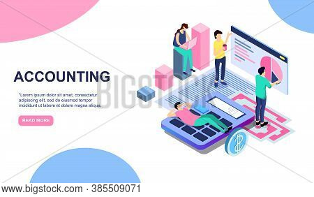 Tax Payment Time, Financial Annual Accounting Business Concept . Vector 3d Isometric Illustration Fo