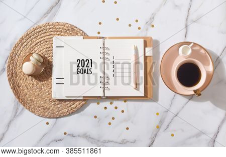 New Year Resolution Goal List 2020 - Business Office Desk With Notebook About Plan Listing Of New Ye