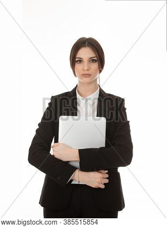 Front View Cutout Portrait Of A Beautiful Woman Holding Personal Computer, Laptop In Hands Posing Lo