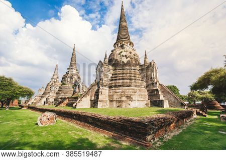 Wat Phra Si Sanphet Temple In Ayutthaya Historical Park, This Is Ancient Capital And Beautiful Histo