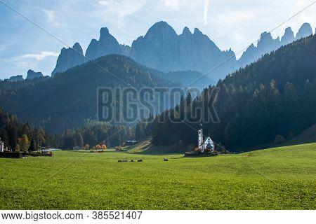 Chapel St. John In Ranui, La Chiesetta Di San Giovanni In Ranui, And Dolomite Alps Early Autumn, Sou