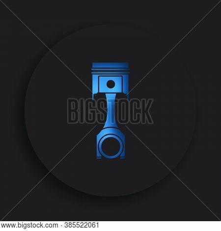 Car Engine Piston In Neomorphism Style On Dark Background. Engine Operation, Oil Change, Car Service
