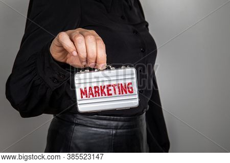 Marketing Strategy Concept. Woman With A Small Briefcase