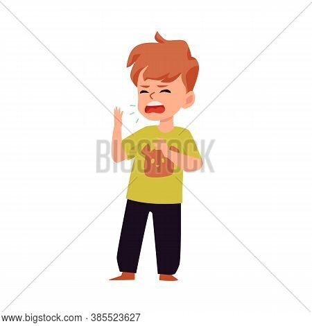 Little Child Sneezing - Cartoon Boy With Cold Or Flu Sneeze Symptom