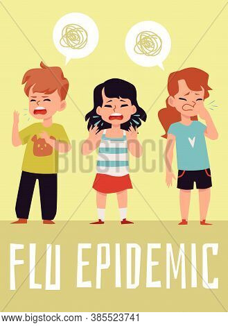 Flu Epidemic Poster, Children With Cold Virus Coughing And Sneezing