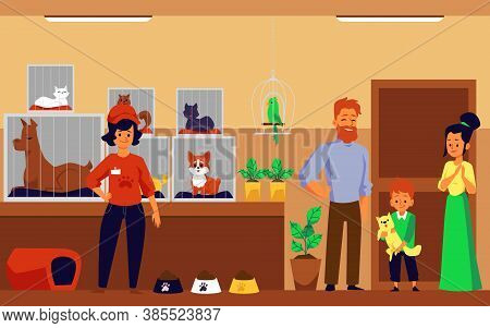Family Adopting A Pet In Animal Shelter, Flat Cartoon Vector Illustration.