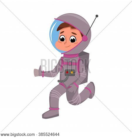 Kid Astronaut In Outer Space Suit, Cute Boy Playing Astronauts, Space Tourist Character Cartoon Styl