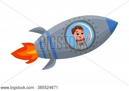 Cute Happy Kid Astronaut Character Flying In Rocket, Little Boy Dreaming Of Becoming An Astronaut Ca