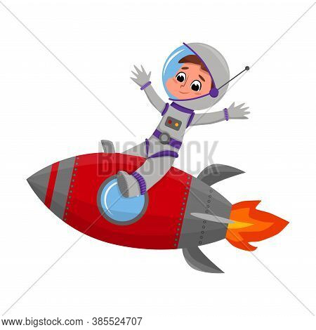 Cute Happy Kid Astronaut Character In Space Suit Riding Rocket, Boy Dreaming Of Becoming An Astronau
